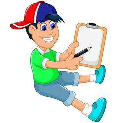 Funny little boy cartoon showing his clip board vector