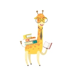 Giraffe smiling bookworm zoo character wearing vector