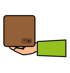 Hand human with box carton delivery service vector