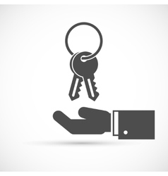 Holding keys on hand vector