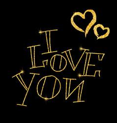 I love you glitter golden hand lettering vector