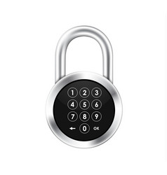 Icon of a realistic hinged metal padlock with a vector