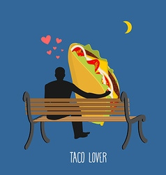 Lover taco Mexican food and people are looking at vector image vector image