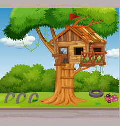 Old treehouse and swing in park vector