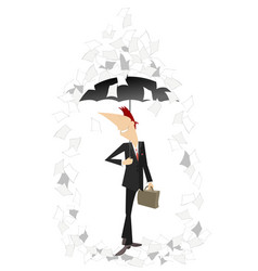 Papers fall down on the man with a bag and umbrell vector