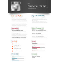 Professional personal resume cv with design vector