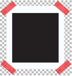 retro photo frame on red sticky tape pin on a vector image