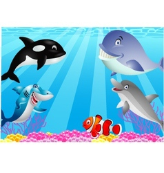 Sea life cartoon vector image vector image