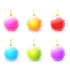 set of colorful christmas ball vector image vector image