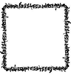 Square frame black graffiti tag pattern on white vector