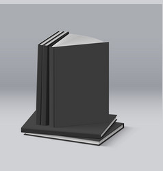 Stack of blank black books for design vector
