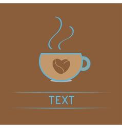 Teacup with coffee seeds heart love card vector