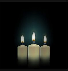 Three candles on a black background vector