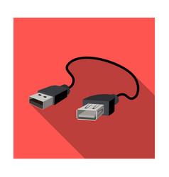 Usb cable icon in flat style isolated on white vector