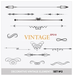 Vintage elements sign and borders set vector image vector image