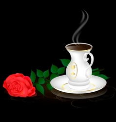 white cup and red rose vector image vector image