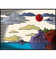 Woodcut landscape vector