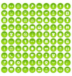 100 t-shirt icons set green circle vector