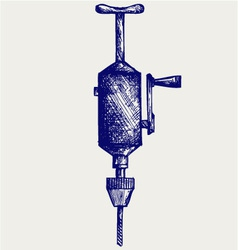 Hand drill vector image