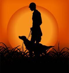 sunset scene vector image