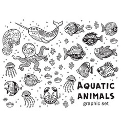 aquatic animals graphic set vector image