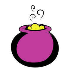 witch cauldron with yellow potion vector image
