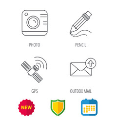 Photo camera mail and gps satellite icons vector