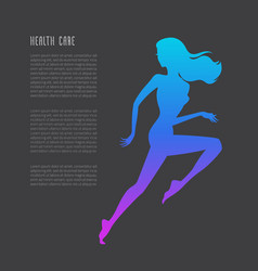 Schematic running woman silhouette vector