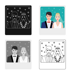 A picture of the bride and groom sees on the wall vector