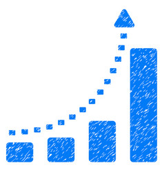 Bar chart positive trend grunge icon vector