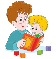 Father and son reading vector image