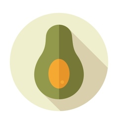 Avocado flat icon with long shadow vector