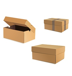 Open and closed cardboard boxes vector