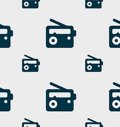 Retro radio icon sign seamless pattern with vector