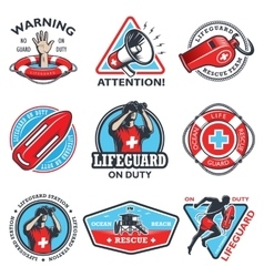 Set of vintage lifeguard emblems vector