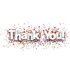 Paper thank you confetti sign vector