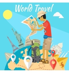 Concept of the world adventure travel vector