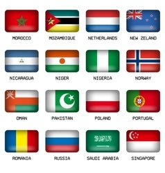 Set of rectangle world top states flags vector