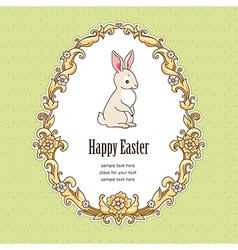 Frame bunny easter green vector