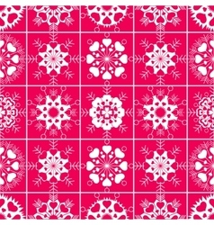 Heart snowflake seamless pattern christmas vector