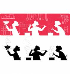 Cooks in the kitchen vector