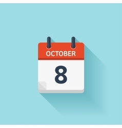 October 8 flat daily calendar icon date vector