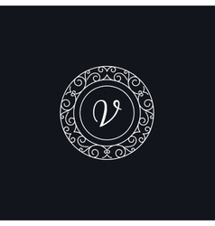 V monogram frame template vector