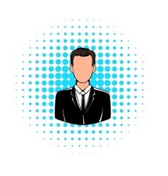 Man in black suit icon comics style vector