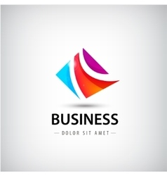 Abstract business logo 3 parts unity icon vector
