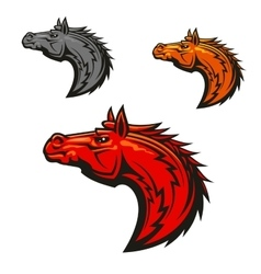 Horse stallion mascot heads set vector