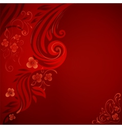 Abstract background with flowers and leaves vector image