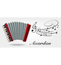 Accordion and music notes on white background vector image vector image