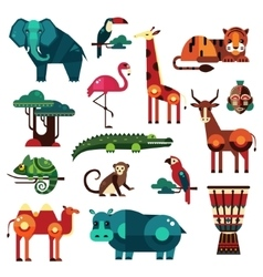 Africa and Savanna Animals Set vector image vector image