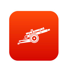 Artillery gun icon digital red vector